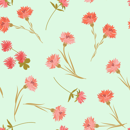 Seamless vector illustration with cornflowers and clover flowers on a green background. For decoration of textiles, packaging, web design.