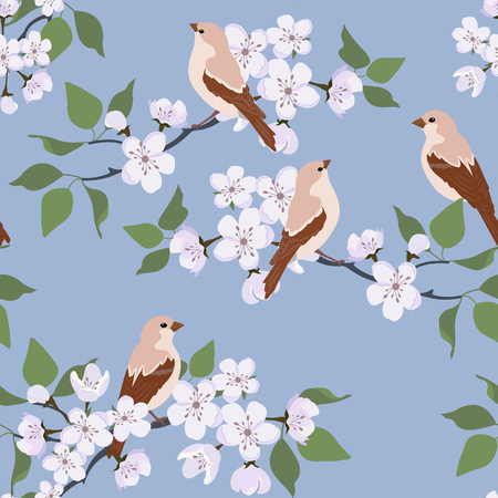 Seamless vector illustration with blossoming sakura and birds on a blue background. For decoration of textiles, packaging, wallpaper.