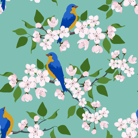 Seamless vector illustration with blossoming sakura and birds on a turquoise background. For decoration of textiles, packaging, wallpaper.