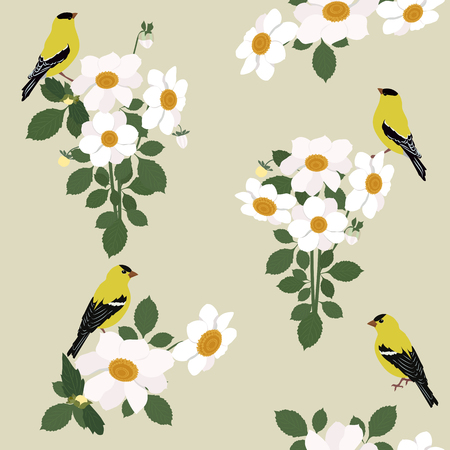 Vector seamless illustration with beautiful white dahlias and birds in a flat style. For decorating textiles, packaging and wallpaper.
