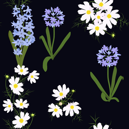Vector seamless illustration with wildflowers on a black background. For decoration of textiles, packaging, web design.