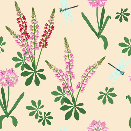 Seamless vector illustration with lupins and dragonflies on a beige background. For decoration of textiles, packaging, web design.