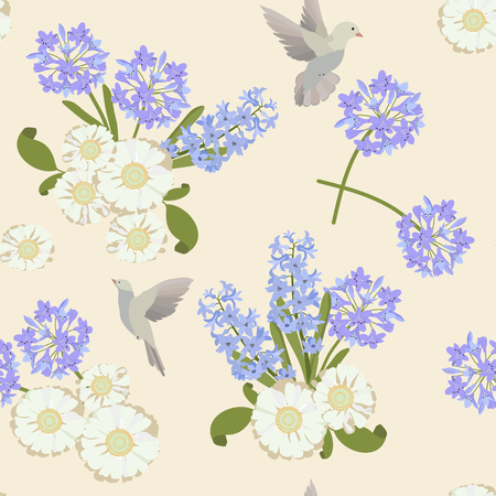 Seamless vector spring illustration with agapanthus, hyacinths and birds. For decorating textiles, packaging, web design.