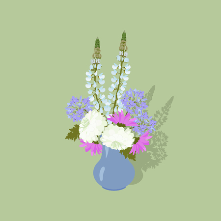 Vector illustration with a vase and realistic garden flowers on an isolated background. Template for greeting cards, web design. Vettoriali
