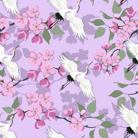 Seamless vector illustration with blossoming sakura and birds on a lilac background. For decoration of textiles, packaging, wallpaper.