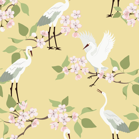 Seamless vector illustration with blossoming sakura and birds on a yellow background. For decoration of textiles, packaging, wallpaper.