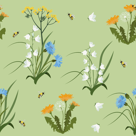 Seamless vector illustration with wildflowers on a green background. For decoration of textiles, packaging, wallpaper.