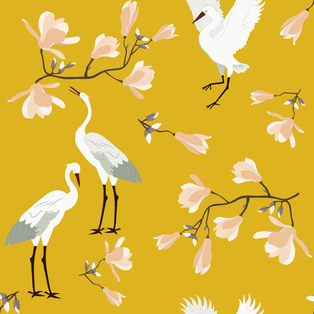 Seamless vector illustration with blossoming magnolia and birds on a yellow background. For decoration of textiles, packaging, wallpaper.