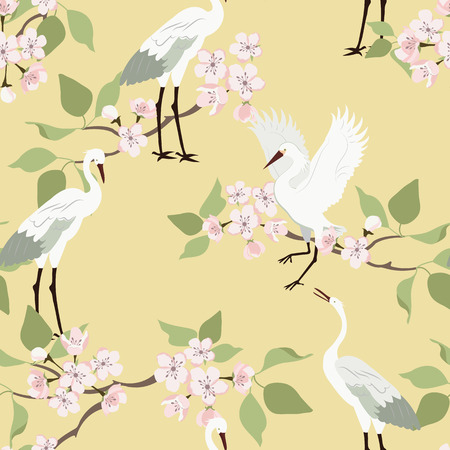 Colorful floral seamless pattern with flowers, japanese bird. Vector traditional folk fashion ornament on yellow background.