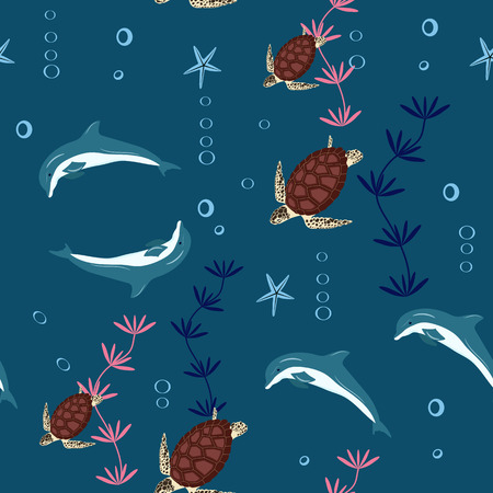 Vector illustration of sea turtles, dolphins. Marine seamless pattern. A beautiful colorful background for your design of postcards, textiles, wallpaper.