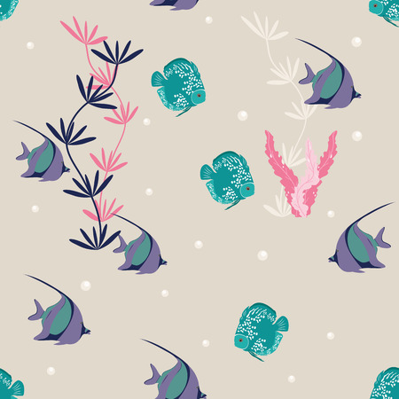 Seamless vector illustration. Underwater world with beautiful fish. For decoration of textiles, packaging, wallpaper.