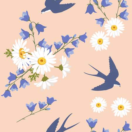 Seamless summer vector illustration with chamomile, campanula and swallows. For decorating textiles, packaging and web design.