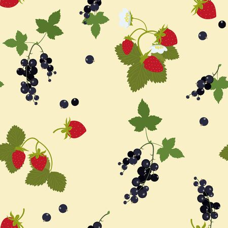Strawberry and blackcurrant seamless repeating pattern texture. Vector illustration design for fashion fabrics, textile graphics, prints, wallpapers and other uses.