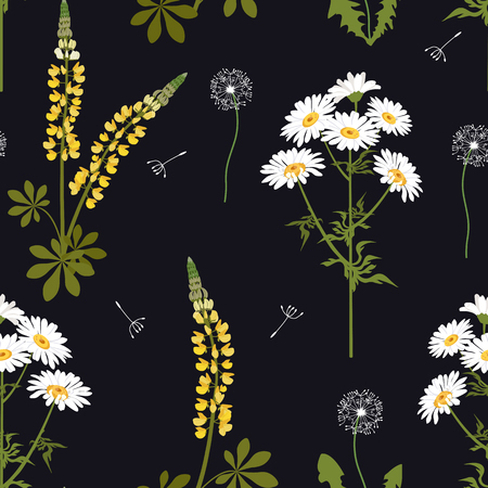 Seamless vector beautiful illustration with wildflowers on a black background. For decoration of textiles, packaging, web design. Vettoriali