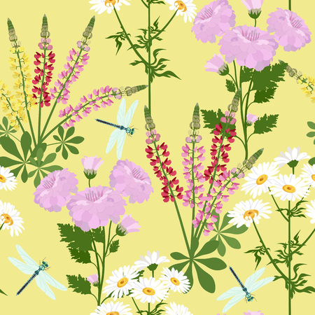 Seamless vector beautiful illustration with wildflowers and dragonfly on a yellow background. For decoration of textiles, packaging, web design. Illustration