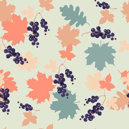 Herbstlaub und schwarze Johannisbeere nahtlose sich wiederholende Musterbeschaffenheit. Vektorillustrationsdesign für Modestoffe, Textilgrafiken, Drucke, Tapeten und andere Anwendungen. Vektorgrafik