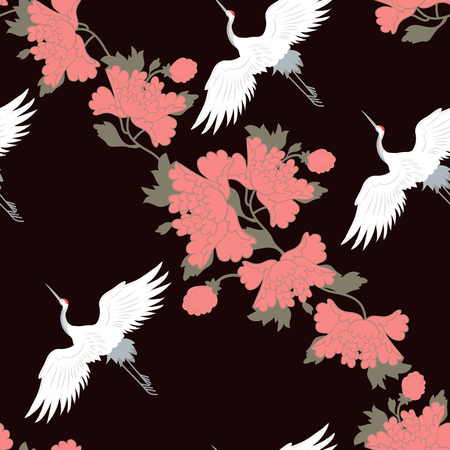 Vector seamless illustration with peonies and cranes birds on black background. For decoration of textiles, packaging, web design.