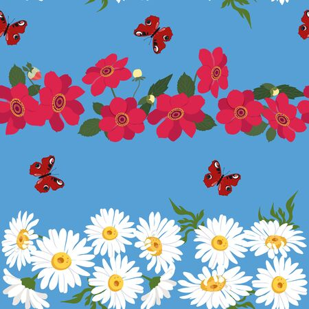 Seamless vector beautiful, summer illustration with chamomile, dahlias and butterflies on a blue background. For decorating textiles, packaging and wallpaper. Illusztráció