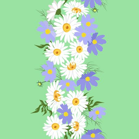 Seamless vector beautiful, summer illustration with chamomile and cosme on a green background. For decorating textiles, packaging and wallpaper.