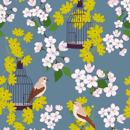 Seamless vector illustration with beautiful flowers, birds and bird cage. For decoration of textiles, packaging, web design. Illusztráció