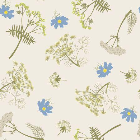 Nahtlose Vektorillustration mit Dillzweigen und Schafgarbe auf einem beige Hintergrund. Zur Dekoration von Textilien, Verpackungen, Webdesign, Tapeten. Vektorgrafik