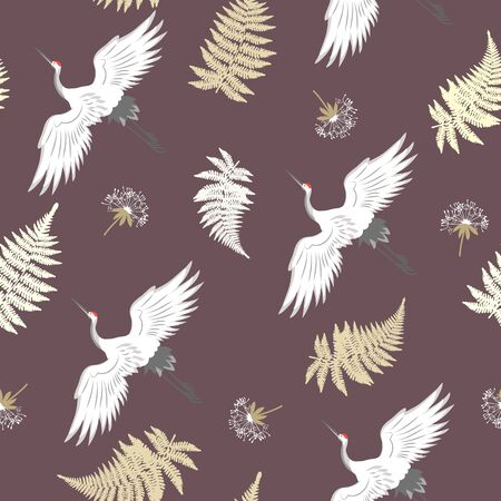 Seamless vector illustration with birds cranes and fern leaves on a dark background. For decoration of textiles, packaging, wallpaper.