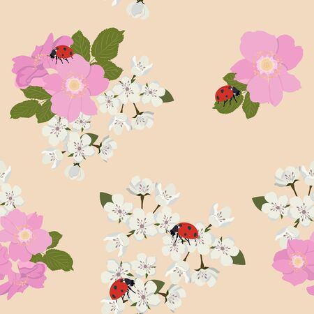 Seamless vector illustration with flowers of wild rose, sakura and ladybirds on a beige background. For decoration of textiles, packaging, web design.