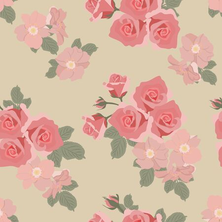 Seamless vector illustration with tender roses and rosehip flowers in pastel colors. For decoration of textiles, packaging, web design.