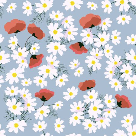 Seamless vector beautiful, summer illustration with chamomile and poppy on a grey background. For decorating textiles, packaging and wallpaper. Illusztráció