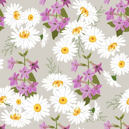 Seamless vector beautiful, summer illustration with chamomile and campanula on a beige background. For decorating textiles, packaging and wallpaper. Illusztráció