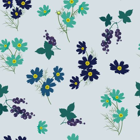 Vector seamless illustration with cosme flowers and berries on a blue background. For decoration of textiles, packaging, wallpaper.