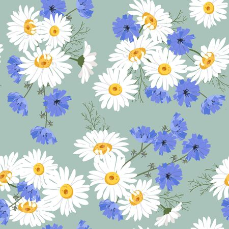 Seamless vector illustration with chamomile and chicory flowers on a green background. For decoration of textiles, packaging, web design. Illusztráció