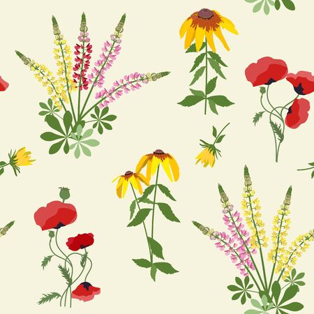 Beautiful seamless vector floral summer pattern background with rudbeckia flowers, lupine and poppy. Perfect for wallpapers, web page backgrounds, surface textures, textile.