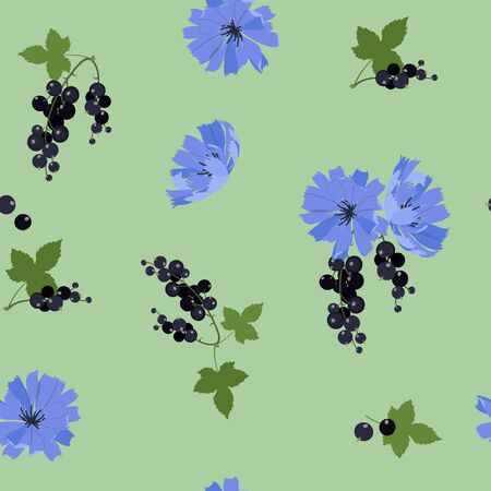 Seamless vector illustration with blue flowers of chicory and currant berry on a green background. For decoration of textiles, packaging, web design. Illusztráció