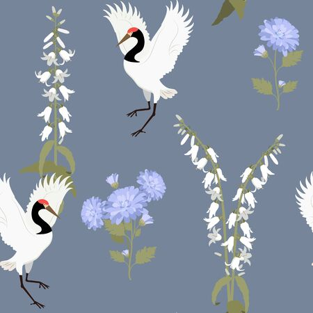 Seamless vector illustration with birds cranes and wild flowers on a dark background. For decoration of textiles, packaging, web design.