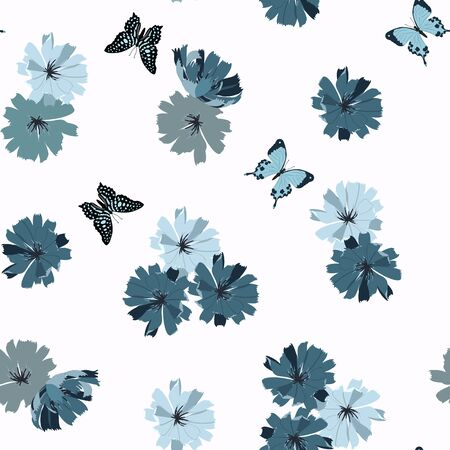 Seamless vector illustration with blue flowers of chicory and butterflies on white background. For decoration of textiles, packaging, web design.
