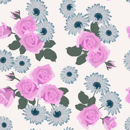 Seamless vector illustration with roses and gerbera in vintage style. For textile decoration, packaging, web design.