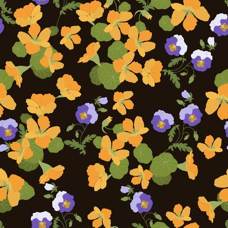 Seamless vector illustration of nasturtium flowers and pansy on a dark background. For textile decoration, packaging, web design. Stock Illustratie