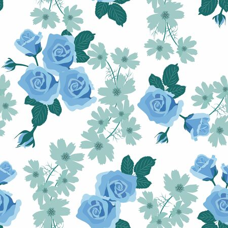 Seamless vector illustration with roses in vintage style. For textile decoration, packaging, web design.