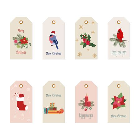 Set of beautiful, bright christmas labels on a white isolated background. Vector illustration. Stock Illustratie