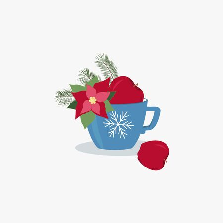 Christmas greeting card template design. Blue cup with branch pine and apple with poinsettia. Stock Illustratie