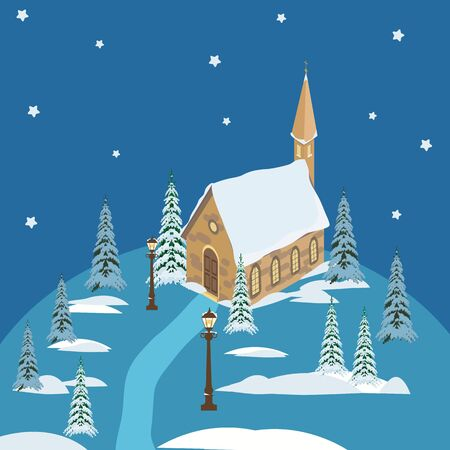 Vector, christmas illustration with house and christmas trees. For the design of postcards, logo, web design.