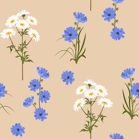 Seamless vector illustration with chamomile and chicory flowers on a beige background. For decoration of textiles, packaging, web design.