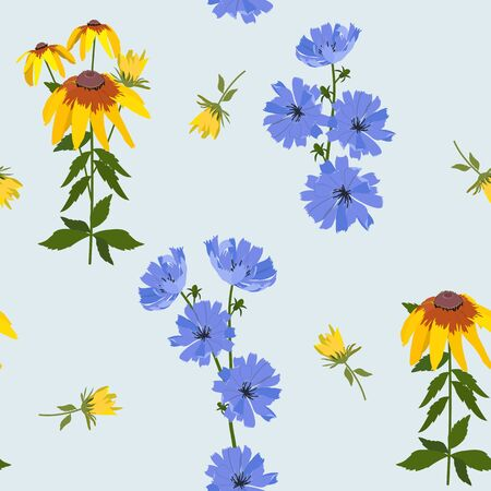 Seamless vector illustration with rudbeckia and chicory flowers on a blue background. For decoration of textiles, packaging, web design.