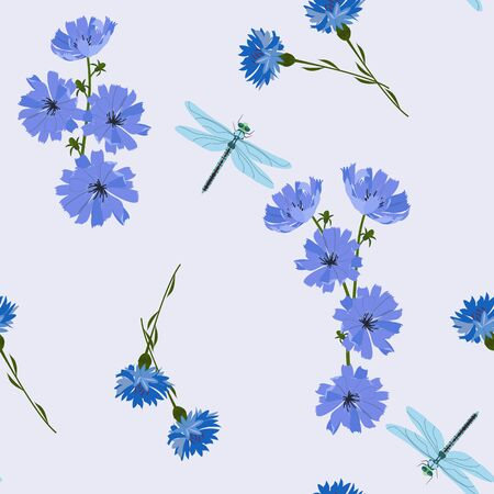 Seamless vector illustration with cornflowers, chicory flowers and dragonflies on a blue background. For decoration of textiles, packaging, web design.