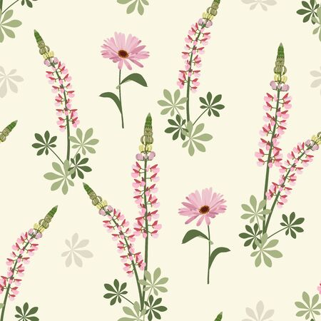 Seamless vector illustration. Marigold flowers and lupines on a light background. Design for paper, textile, fabric, web, packaging.