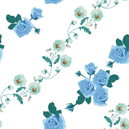 Seamless vector illustration with pansies and roses on a white background. For decorating textiles, packaging, web design.