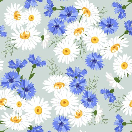 Seamless vector illustration with daisies and cornflowers. For decoration of textiles, packaging, web design. Иллюстрация