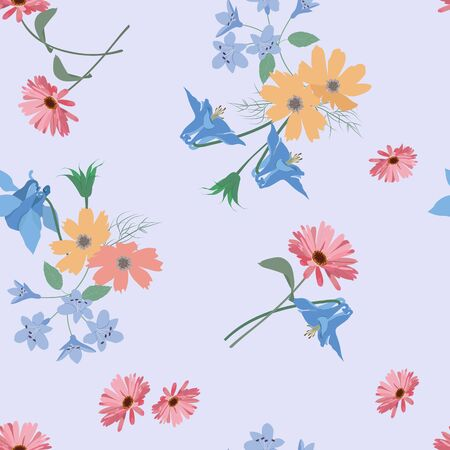 Seamless vector illustration with beautiful wildflowers on a blue background. For decoration of textiles, packaging, web design, wallpaper.