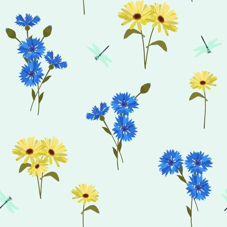 Seamless vector illustration with field cornflowers, calendula and dragonflies. For textile decoration, packaging, web design.